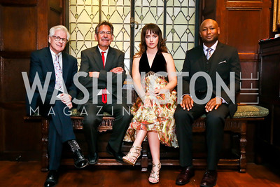 Authors Thomas Fallon, Benjamin Alire Såenz, Amelia Gray, T. Geronimo Johnson. Photo by Tony Powell. PEN/Faulkner Award for Fiction. Folger Shakespeare Library. May 4, 2013