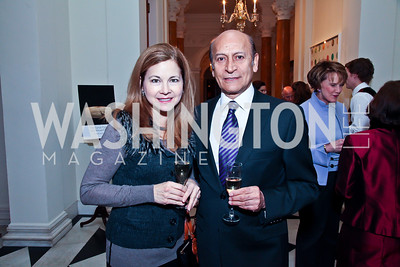 Stacey and Iradge Izadi. Photo by Tony Powell. Reception and Presentation on the Cyrus Cylinder. British Ambassador's residence. March 6, 2013