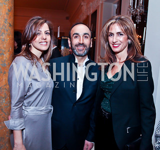 Dalia and Hossein Fateh, Sima Ladjevardian. Photo by Tony Powell. Reception and Presentation on the Cyrus Cylinder. British Ambassador's residence. March 6, 2013