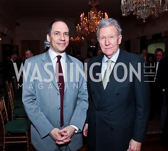 Marcus Brauchli, Jim Hoagland. Photo by Tony Powell. Reception and Presentation on the Cyrus Cylinder. British Ambassador's residence. March 6, 2013