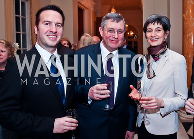 Alex Nagel, John Curtis, Kate Smith. Photo by Tony Powell. Reception and Presentation on the Cyrus Cylinder. British Ambassador's residence. March 6, 2013