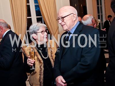 Judith Dodge, Joe Duffey. Photo by Tony Powell. Reception and Presentation on the Cyrus Cylinder. British Ambassador's residence. March 6, 2013