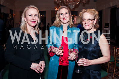 Joanna Mackle, Joy deMenil, Fiammetta Rocco. Photo by Tony Powell. Reception and Presentation on the Cyrus Cylinder. British Ambassador's residence. March 6, 2013