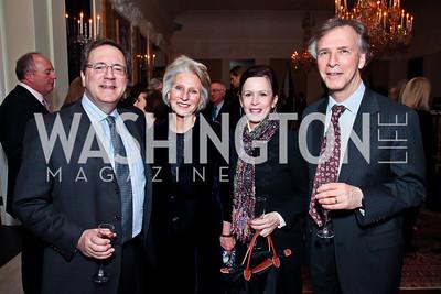 David Sanger, Jane Harman, Robin Wright, Robert Litwak. Photo by Tony Powell. Reception and Presentation on the Cyrus Cylinder. British Ambassador's residence. March 6, 2013