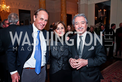 Christopher Isham, Darya Nasr, Alireza Rastegar. Photo by Tony Powell. Reception and Presentation on the Cyrus Cylinder. British Ambassador's residence. March 6, 2013