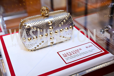 Alexander McQueen Britannia clutch. Photo by Tony Powell. Reception for Ken Downing Gift Collection to benefit THEARC. Neiman Marcus. November 20, 2013