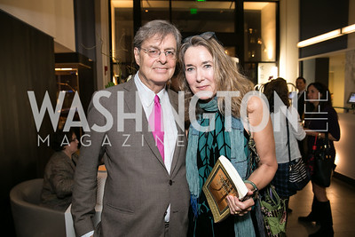 Andrew Cockburn, Leslie Cockburn. Photo by Alfredo Flores. Reception for Leslie Cockburn's new book Baghdad Solitaire. A Bar at Avenue Suites. October 10, 2013