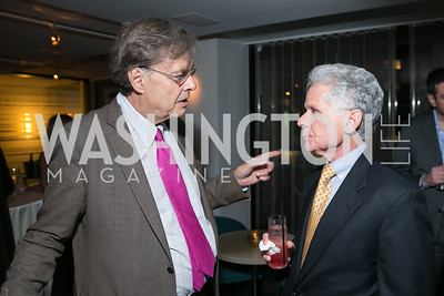 Andrew Cockburn, Donald Friedman. Photo by Alfredo Flores. Reception for Leslie Cockburn's new book Baghdad Solitaire. A Bar at Avenue Suites. October 10, 2013