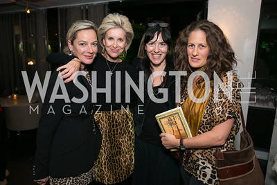 Mariela Trager, Mary Haft ,Nora Maccoby, Julia Cohen. Photo by Alfredo Flores. Reception for Leslie Cockburn's new book Baghdad Solitaire. A Bar at Avenue Suites. October 10, 2013