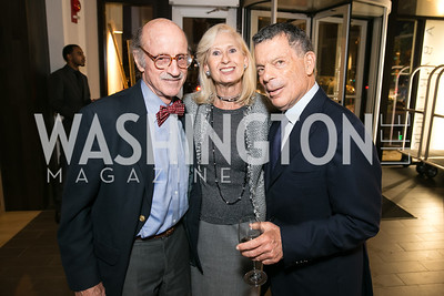 Finlay Lewis, Willee Lewis, Conrad Cafritz. Photo by Alfredo Flores. Reception for Leslie Cockburn's new book Baghdad Solitaire. A Bar at Avenue Suites. October 10, 2013