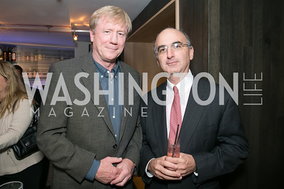 Angus Yates, Michael Canter. Photo by Alfredo Flores. Reception for Leslie Cockburn's new book Baghdad Solitaire. A Bar at Avenue Suites. October 10, 2013