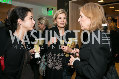 Petra Barth, Rula Awwad, Janet Bruce. Photo by Alfredo Flores. Reception for Leslie Cockburn's new book Baghdad Solitaire. A Bar at Avenue Suites. October 10, 2013