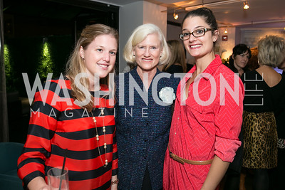 Katie Petrelius, Caroline Croft, Laurie Valora, Julia Cohen. Photo by Alfredo Flores. Reception for Leslie Cockburn's new book Baghdad Solitaire. A Bar at Avenue Suites. October 10, 2013