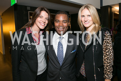 Hallie Sherard, Dylan Glenn, Paige Speyer. Photo by Alfredo Flores. Reception for Leslie Cockburn's new book Baghdad Solitaire. A Bar at Avenue Suites. October 10, 2013