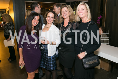 Molly Elkin, Diana Morgan, Ann Behrens, Jane Cafritz. Photo by Alfredo Flores. Reception for Leslie Cockburn's new book Baghdad Solitaire. A Bar at Avenue Suites. October 10, 2013