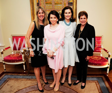 Isabel Ernst, JoAnn Mason,Alexandra de Borchgrave,Liz Dubin,April 9,2013,Reception for Light Of Healing Hope Foundation at The Residence of  The French Ambassador,Kyle Samperton