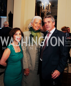 Lady Westmacott,Christine Lagarde,British Amb.Sir Peter Westmacott,,July 25,2013,Reception in Celebration of the birth of HRH Prince George of Cambridge at the Residence of The British Ambassador,Kyle Samperton
