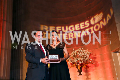 Farooq Kathwari, Rep. Donna Edwards. Photo by Tony Powell. Refugees International Anniversary Dinner. Mellon Auditorium. May 2, 2013