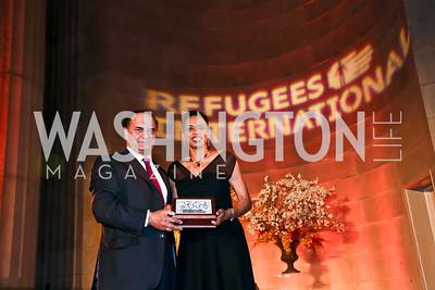 Farooq Kathwari, Rep. Donna Edwards. Photo by Tony Powell. Refugees International Anniversary Dinner. Mellon Auditorium. May 2, 2013