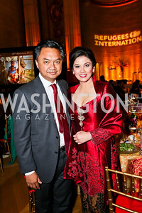 Indonesian Amb. Dino Djalal and Rosa Djalal. Photo by Tony Powell. Refugees International Anniversary Dinner. Mellon Auditorium. May 2, 2013