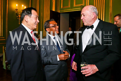 Larry La, East Timor Amb. Constancio Pinto, James Bernstein. Photo by Tony Powell. Refugees International Anniversary Dinner. Mellon Auditorium. May 2, 2013