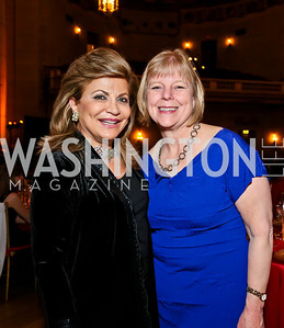 Annie Totah, Nancy Floreen. Photo by Tony Powell. Refugees International Anniversary Dinner. Mellon Auditorium. May 2, 2013