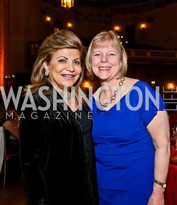 Annie Totah, Nancy Floreen. Photo by Tony Powell. Refugees International Anniversary Dinner. Mellon Auditorium. May 2, 2013