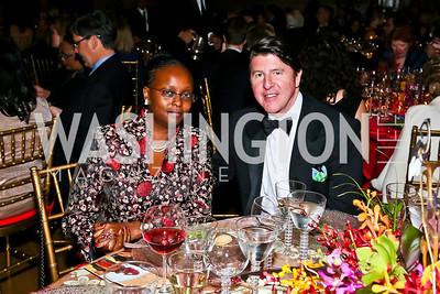 Kenya Ambassador Jean Kamau, Bruce Bradley. Photo by Tony Powell. Refugees International Anniversary Dinner. Mellon Auditorium. May 2, 2013
