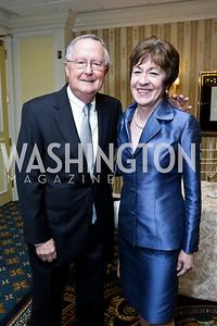 Tom Daffron and Sen. Susan Collins. Photo by Tony Powell. Roy Pfautch Dinner Honoring the new Ambassador of Japan. Willard Hotel. June 11, 2013