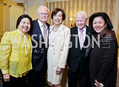 Vicky Cuisia, Roderick and Carla Hills, Philippines Amb. Jose Cuisia, Irene Inouye. Photo by Tony Powell. Roy Pfautch Dinner Honoring the new Ambassador of Japan. Willard Hotel. June 11, 2013