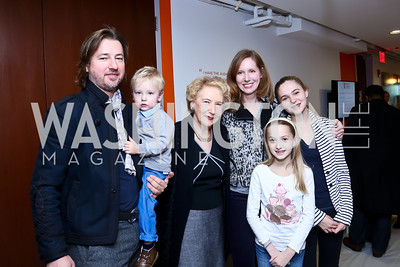 Christopher and Leo Reiter, Margaret DeGalffy, Juleanna Glover, Helena and Blythe Weiss. Photo by Tony Powell. A Holiday Cookie Party. Share Our Strength Headquarters. December 14, 2013