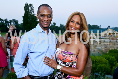 Brian Maillian, model Beverly Johnson. Photo by Tony Powell. Sheila Johnson's family and friends launch of Salamander Resort & Spa. August 29, 2013