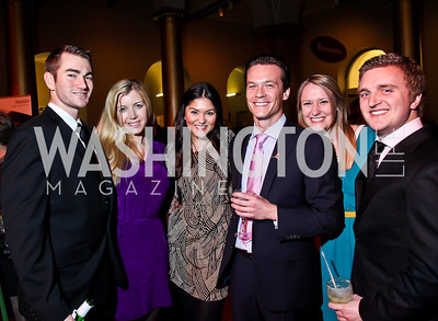 Dan Holly, Kim Tracy, Taina Oquendo, Geoff Collins, Megan Maher, Russell Hefner. Photo by Tony Powell. 2013 St. Jude Gourmet Gala. Building Museum. February 12, 2013