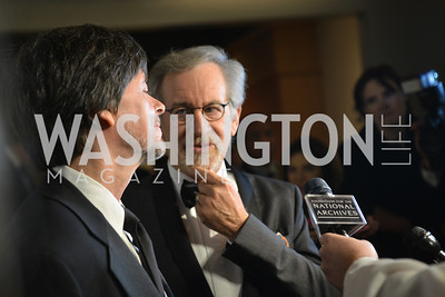 Ken Burns, Steven Spielberg, Steven Spielberg at the National Archives. November 19, 2013.  Photo by Ben Droz.