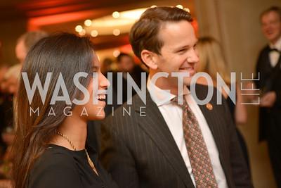 Karla Gomez, Congressman Aaron Schock, Steven Spielberg at the National Archives. November 19, 2013.  Photo by Ben Droz.