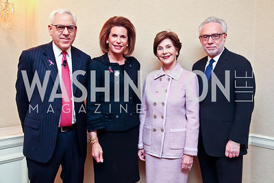 David Rubenstein, Nancy Brinker, Laura Bush, Wolf Blitzer. Photo by Tony Powell. Susan G. Komen for the Cure Global Women's Cancer Summit. Fairmont Hotel. February 3, 2013