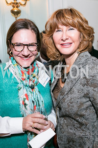 Andrea Weiswassr, Kathleen Golden. Photo by Alfredo Flores. Teach for America Gala Cocktail Event. The home of Deborah Lehr and John Rogers. November 13, 2013.