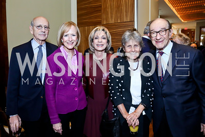Justice Stephen Breyer, Judy Woodruff, Andrea Mitchell, Joanna Hare, Alan Greenspan. Photo by Tony Powell. 2013 Kennedy Center Honors George Stevens Brunch. Mandarin Oriental. December 8, 2013