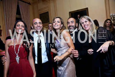 Abeer and UAE Amb. Yousef Al Otaiba, Dalia and Hossein Fateh, Isabel Ernst. Photo by Tony Powell. 45th Annual Meridian Ball. October 18, 2013