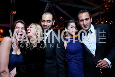 Hallie Sherard, Sandra Barros, Omar Popal, Tara Shirvani, Kareem Chrobog. Photo by Tony Powell. 45th Annual Meridian Ball. October 18, 2013