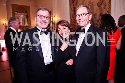 Robert Cane, Nora Pouillon, Richard Thompson. Photo by Tony Powell. The FOCUS Gala honoring Malcolm Peabody. Washington Club. March 21, 2013