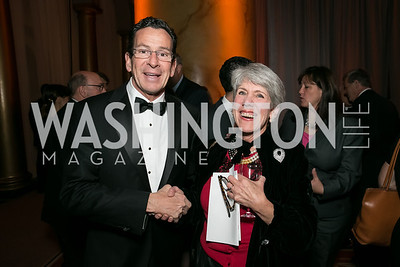 Governor Dan Malloy, Judy Brinckerhoff. Photo by Alfredo Flores. The Lab School Awards Gala.  National Building Museum. November 14, 2013.