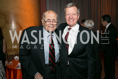 Rep. John Dingell, Sen. Max Baucus. Photo by Alfredo Flores. The Lab School Awards Gala.  National Building Museum. November 14, 2013.