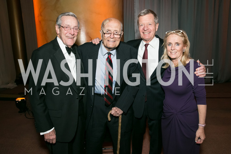 Sen. Max Baucus, Bill Brock, Rep. John Dingell, Debbie Dingell. Photo by Alfredo Flores. The Lab School Awards Gala.  National Building Museum. November 14, 2013.