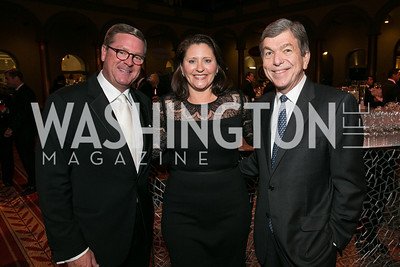 Tim McKone, Rachel Robinson, Sen. Roy Blunt. Photo by Alfredo Flores. The Lab School Awards Gala.  National Building Museum. November 14, 2013.