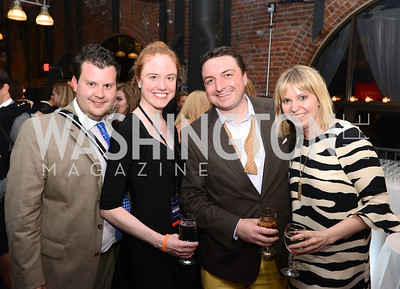 Brendan Kownacki, Jessica Moore, Chris Brown, Nikki Schwab, National Journal, OurTime.org, and the Atlantic, sponsor The Making News Party at the Powerhouse in Georgetown.  Photo by Ben Droz.