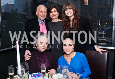 """back Lawrence, Paula, and Elise Widerlite front Sylvia Danovitch, Sara Stratoberdha. Photo by Tony Powell. """"The New Jewish Table"""" Passover Seder. Equinox. March 25, 2013"""