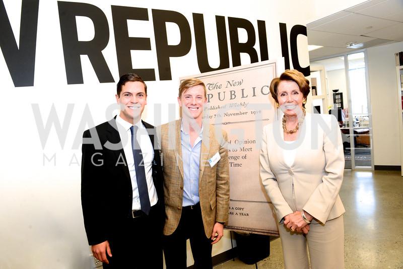 Sean Eldridge, Chris Hughes, Nancy Pelosi, The New Republic Office Opening Party.  Friday April 26. Photo by Ben Droz.