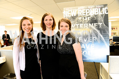 Annie Augustine, Chloe Schama, Adrienne Todd, The New Republic Office Opening Party.  Friday April 26. Photo by Ben Droz.