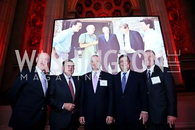 "Chiefs of Staff Jim Jones, John Sununu, Joshua Bolten, Kenneth Duberstein, Jack Watson. Photo by Tony Powell. ""The Presidents' Gatekeepers"" Screening. Mellon Auditorium. September 10, 2013"